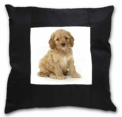 Cockerpoodle Black Border Satin Feel Cushion Cover With Pillow Inser, AD-CP6-CSB