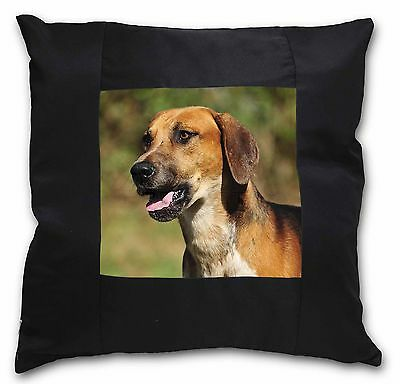 Foxhound Dog Black Border Satin Feel Cushion Cover With Pillow Inser, AD-FH1-CSB