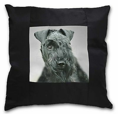 Kerry Blue Terrier Dog Black Border Satin Scatter Cushion Christmas , AD-KB1-CSB