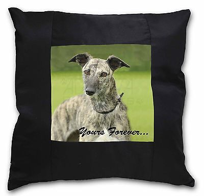 Greyhound Dog 'Yours Forever' Black Border Satin Feel Cushion Cover, AD-LU7y-CSB