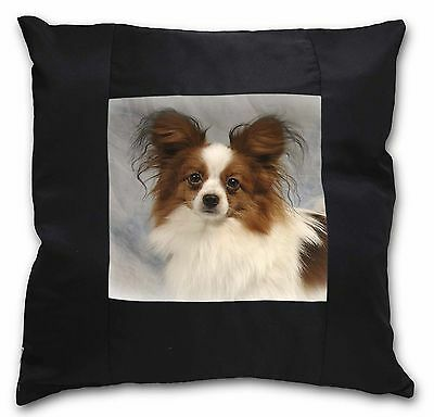 Papillon Dog Black Border Satin Feel Cushion Cover With Pillow Inser, AD-PA1-CSB
