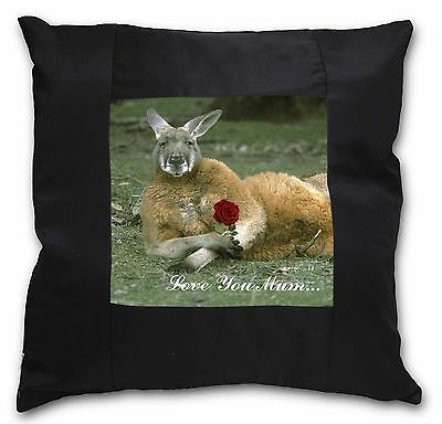 Kangaroo+Rose 'Love You Mum' Black Border Satin Scatter Cushion Ch, AK-1Rlym-CSB