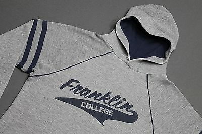 M * vtg 80s rayon tri blend hoodie FRANKLIN COLLEGE Grizzlies sweat shirt 71.143