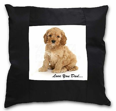 Cockerpoodle 'Love You Dad' Black Border Satin Scatter Cushion Chris, DAD-19-CSB