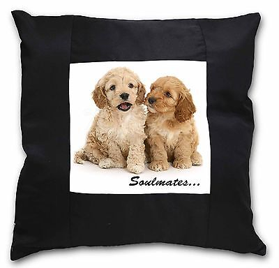 Cockerpoodle Puppy Dogs 'Soulmates' Black Border Satin Scatter Cush, SOUL-27-CSB