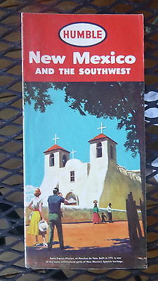 1956 New Mexico  road map Humble oil gas Derby route 66 Saint Francis Mission