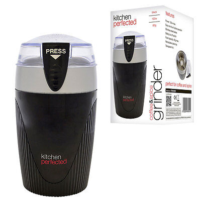 KitchenPerfected 120w 80g Spice / Coffee Grinder - Black/Silver