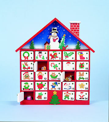 Wooden Christmas Festive Red & White House Xmas Advent Calendar In Gift Box