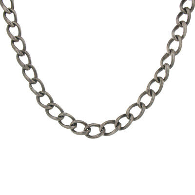 Vintage Sterling Silver Oval Link Chain Heavy Necklace Nice Patina From Italy