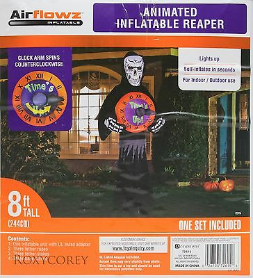 Halloween Airflowz 8 ft Reaper with Spinning Clock Airblown Inflatable NIB