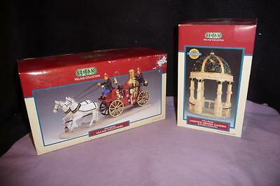 """2 """"lemax"""" Christmas Collection Firefighters Village Volunteers & Lighted Gazebo"""
