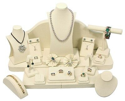 24 piece Linen beige Retail SHOWCASE Pawn Necklace Ring Fine JEWELRY DISPLAY