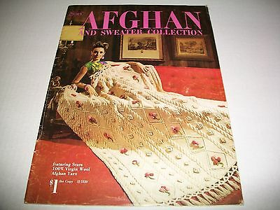 Vintage Crochet Pattern Leaflet Book Sears 1971 Afghan & Sweater Collection
