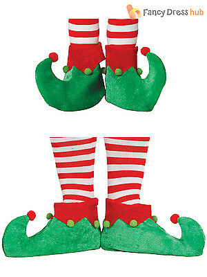 Adults Childs Elf Shoes Christmas Fancy Dress Santas Helper Boots Xmas Accessory
