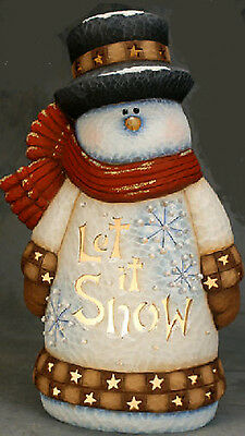 Ceramic Bisque Ready to Paint Large Let it Snow Snowman Clipin light/bulb incl.