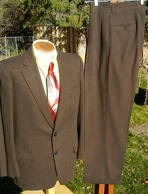 Vintage 1950s Pinstripe Business Suit 42R 31x31 - Alterable Flannel - XLNT Condi