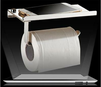 Stainless Steel Bathroom Tissue Toilet Paper Phone Holders-Mounted with Shelf