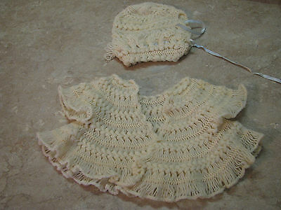 HAND-KNITTED Crochet VTG INFANT/BABY DOLL SWEATER Hat Cap Bonnet CREAM SET