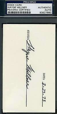 Wayne Millner Psa/dna Coa Hand Signed 3X5 Index Card Authentic Autograph