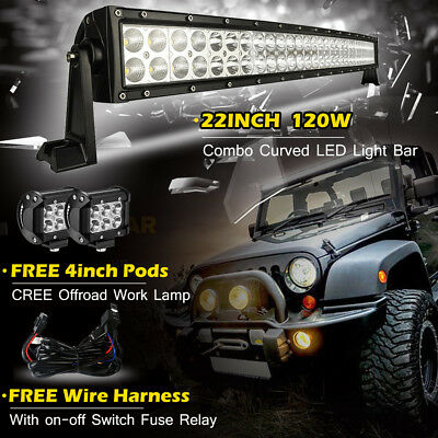 24inch 120W Curved Led Light Bar + 2X 4in CREE led Work light SUV Offroad Jeep 3