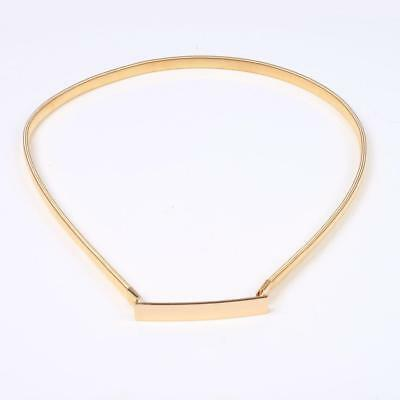 Gold Metal Elastic Stretchy Skinny Thin Waistband Waist Belt Chain Lady Girl