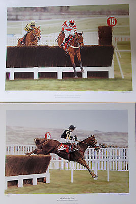"2x Stephen Smith 22""x16"" Signed LIMITED EDITION HORSE RACING JUMP PICTURES"