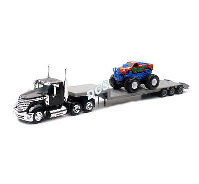 NEW RAY SS-16713 INTERNATIONAL LONESTAR with TWIN AUTO CARRIER 1//43 BLUE