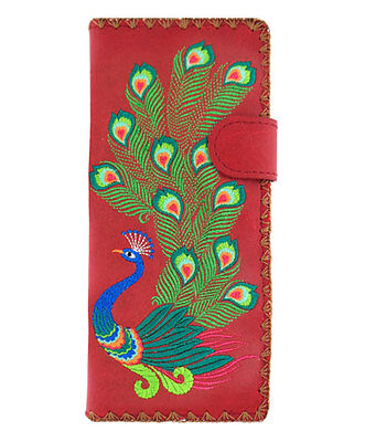 New LAVISHY Checkbook Wallet PEACOCK BIRD FEATHER Vegan Leather Embroidery RED
