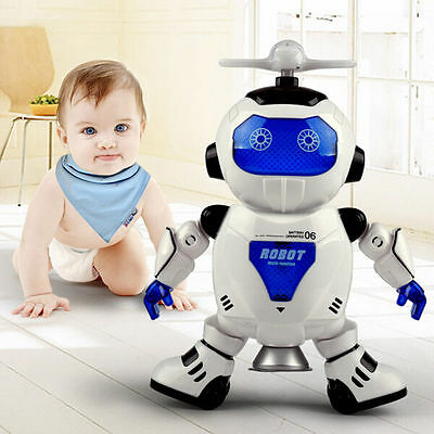 Electric Smart Space Robot 360° Rotate Walking Dancing Sound Light Kids Toy Xmas
