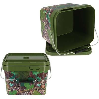2 X Square 10L Camo Bait Buckets For Boilies Pellets Carp Coarse Fishing Tackle
