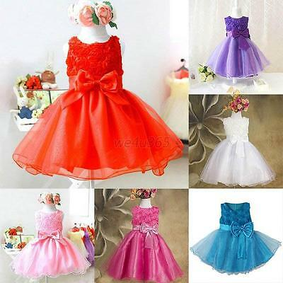 Flower Princess Bow Dress Baby Girls Wedding Party Multilayer Tulle Dresses New