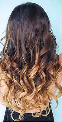 """Real Deluxe (20"""") Ombre dark brown to Ash/Light Brown clip in Hair Extensions"""