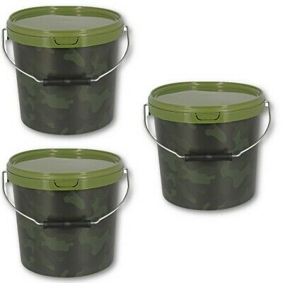 3 X Round 10L Camo Bait Buckets For Boilies Pellets Carp Coarse Fishing Tackle
