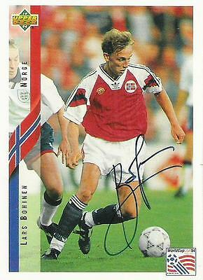 An Upper Deck World Cup USA 1994 card signed by Lars Bohinen of Norway.