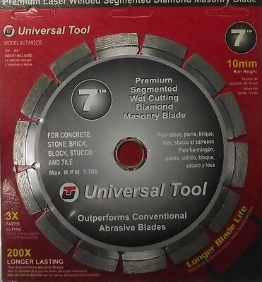 "Universal UTA92230 Premium 7"" Diamond Segmented Saw Blade 10mm Rim"
