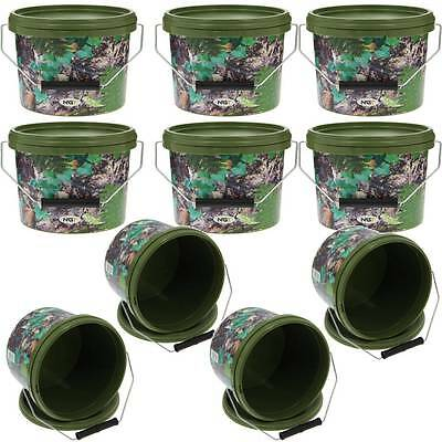10 X Round 2.5L Camo Bait Buckets For Boilies Pellets Ngt Carp Fishing Wholesale