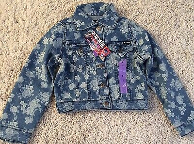 Girls Denim Jacket With Floral Design by 'Tractor' - Colour Blue Size Age 6!