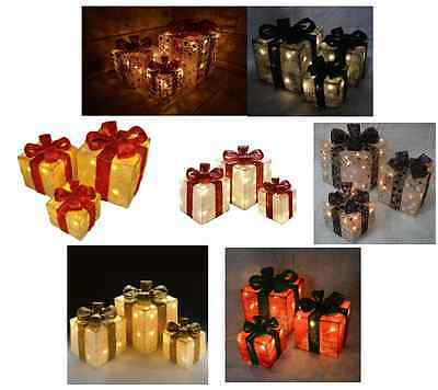 Premier Set Of 3 Lit LED lights Christmas Parcels Gift Boxes Mains Operated