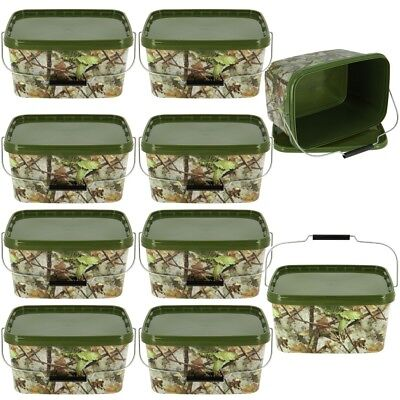 10 X Square 5L Camo Bait Buckets For Boilies Pellets Carp Coarse Fishing Tackle