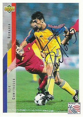 An Upper Deck World Cup USA 1994 card signed by Ilie Dumitrescu of Rumania.