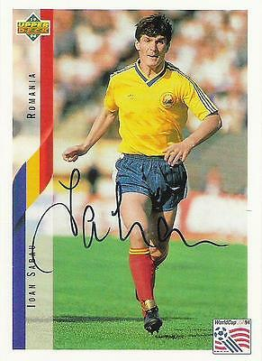 An Upper Deck World Cup USA 1994 card signed by Ioan Sabau of Rumania.