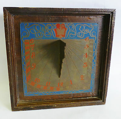 Antique Garden Sundial Wood Metal I only Count the Hours that are Serene RARE