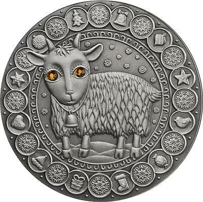 Belarus 2009 20 Roubles Zodiac Signs - Capricorn 28.28g Silver Coin with Zircons