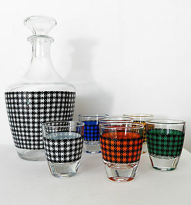 Vintage Plaid Print Decanter With 6 Shot Glasses Made In France Cristal D'arques
