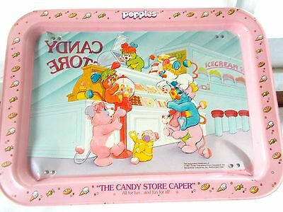 Vintage Popples Metal TV Serving Tray Candy Store Caper 1987
