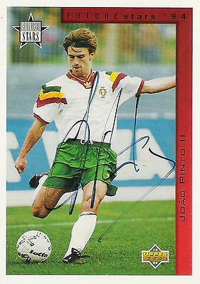 An Upper Deck Future Stars 1994 card signed by Joao Pinto II of Portugal.