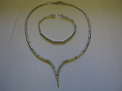 HEAVY HALLMARKED SOLID 9ct WHITE GOLD NECKLACE & MATCHING BRACELET SET 26 GRAMS