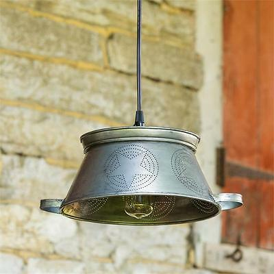Primitive new plug in punched tin STAR colander hang light / nice