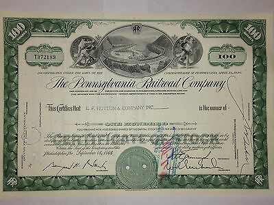 Pennsylvania Railroad Co original stock certificate with Altoona horseshoe curve