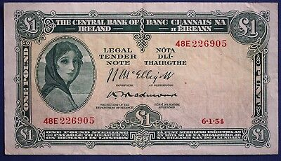 1954 Irish One pound £1 Central Bank of Ireland banknote  Lady Lavery [7641]